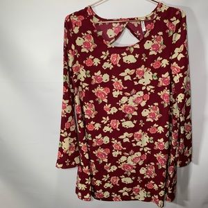 WallFlower Bell Sleeve Wine Floral spring Dress